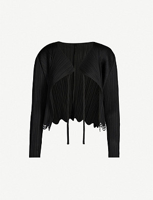 PLEATS PLEASE ISSEY MIYAKE Cropped pleated crepe jacket
