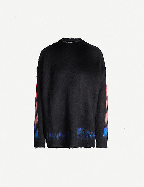 OFF-WHITE C/O VIRGIL ABLOH High-neck striped-sleeve logo-print mohair-blend jumper