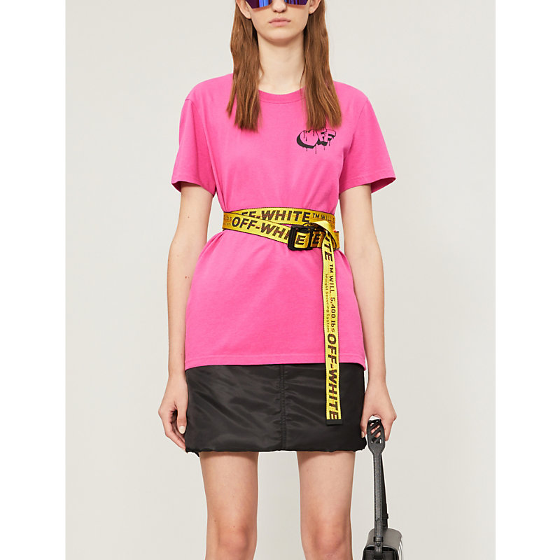 Off-White T-shirts MARKERS LOGO-PRINT STRETCH-COTTON JERSEY T-SHIRT