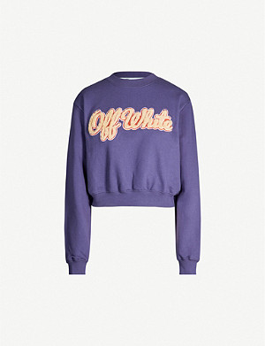 OFF-WHITE C/O VIRGIL ABLOH Branded cropped cotton-jersey sweatshirt