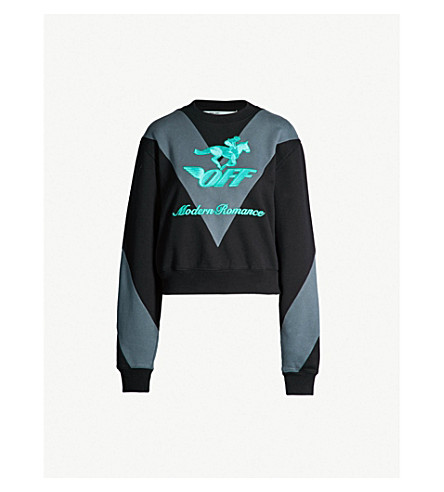 3866e585c5b9 OFF-WHITE C O VIRGIL ABLOH Jockey cotton-jersey sweatshirt (Black+
