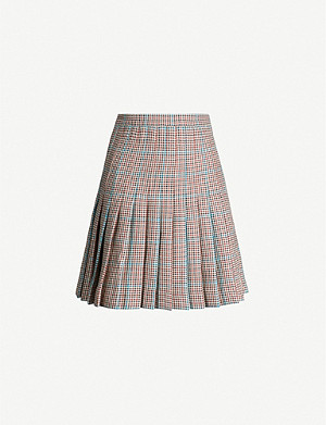 OFF-WHITE C/O VIRGIL ABLOH Checked pleated wool mini skirt