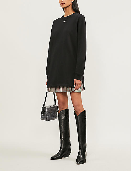 OFF-WHITE C/O VIRGIL ABLOH Logo-embellished cotton-jersey mini dress