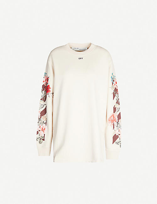 OFF-WHITE C/O VIRGIL ABLOH Floral-print cotton-jersey long jumper