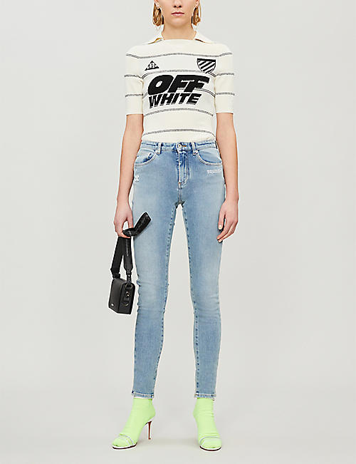 OFF-WHITE C/O VIRGIL ABLOH Striped stretch-knit top