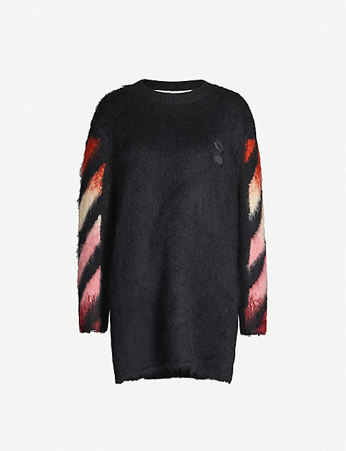 OFF-WHITE C/O VIRGIL ABLOH Logo-pattern mohair-blend mini dress