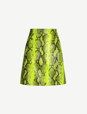 OFF-WHITE C/O VIRGIL ABLOH Snake-print leather skirt