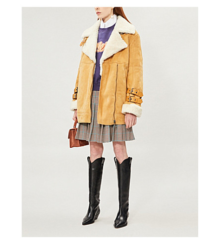 OFF-WHITE OVERSIZED SUEDE SHEARLING JACKET