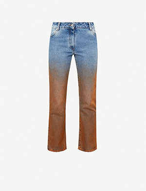 OFF-WHITE C/O VIRGIL ABLOH Dip-dyed cropped straight mid-rise jeans