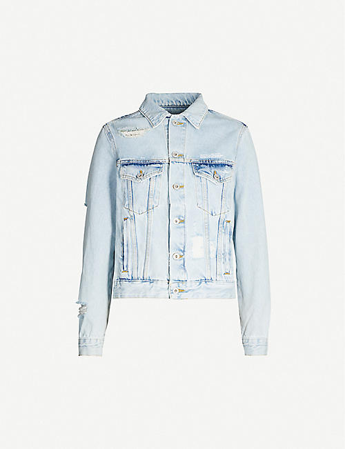 OFF-WHITE C/O VIRGIL ABLOH Faded ripped brand-print denim jacket