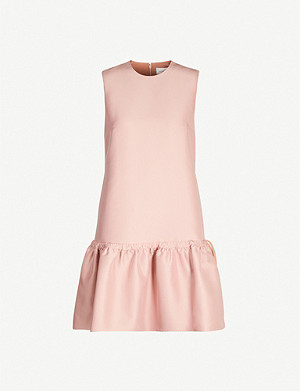 VICTORIA VICTORIA BECKHAM Drawstring-detail flared-hem crepe dress