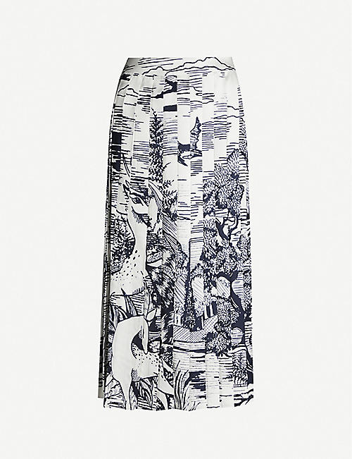 VICTORIA VICTORIA BECKHAM Printed pleated satin-twill midi skirt