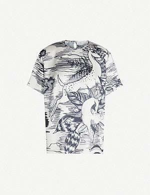 VICTORIA VICTORIA BECKHAM Classic-fit graphic-pattern satin T-shirt