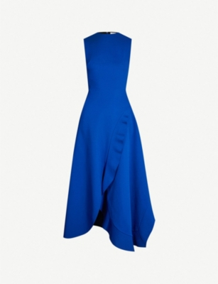 VICTORIA BECKHAM Asymmetric ruffled woven dress