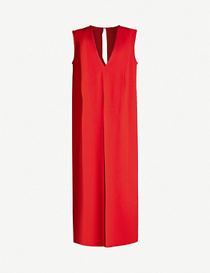 VICTORIA BECKHAM Sleeveless V-neck crepe midi dress