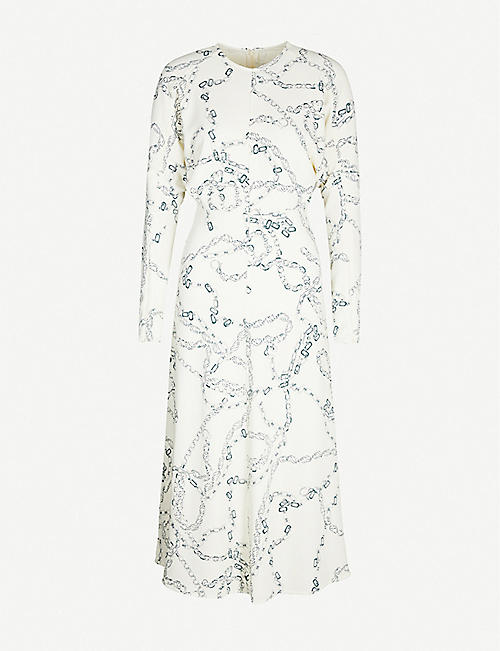 VICTORIA BECKHAM Chain-print crepe midi dress