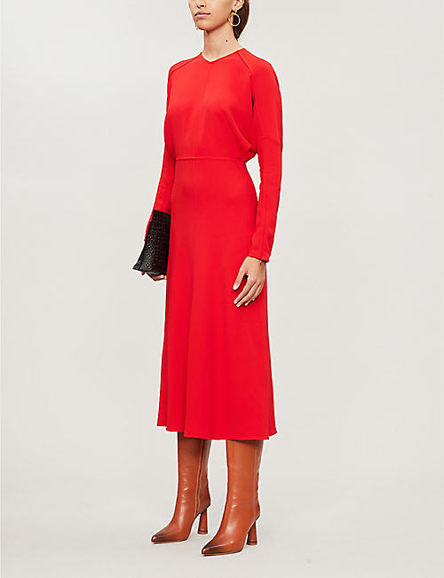 VICTORIA BECKHAM Long-sleeved crepe midi dress