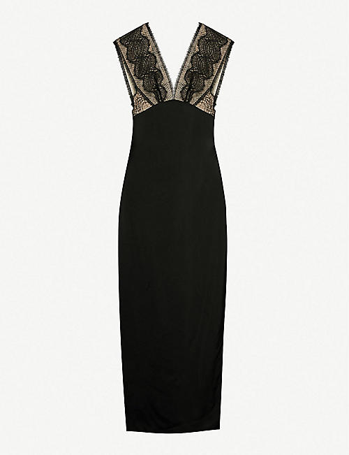8f0fa4b785c VICTORIA BECKHAM V-neck sleeveless lace detail dress