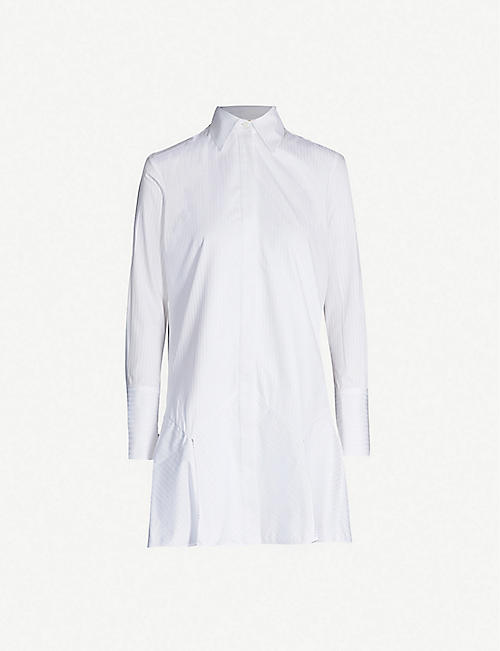 VICTORIA VICTORIA BECKHAM Frilled-hem cotton shirt dress