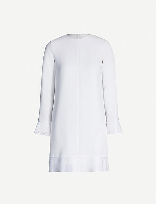 VICTORIA VICTORIA BECKHAM Ruffled-trim crepe mini dress