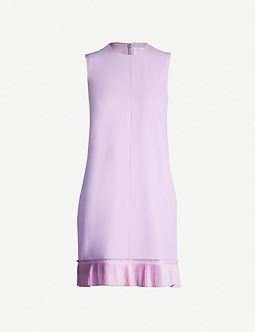 VICTORIA VICTORIA BECKHAM Pleated-hem crepe dress