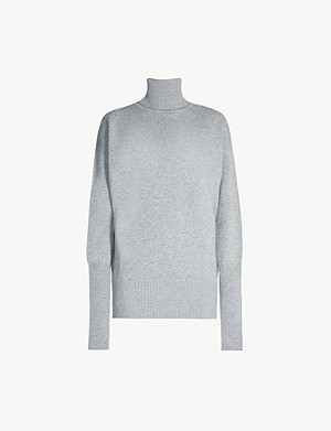 VICTORIA BECKHAM Turtleneck logo-embroidered stretch-cashmere jumper