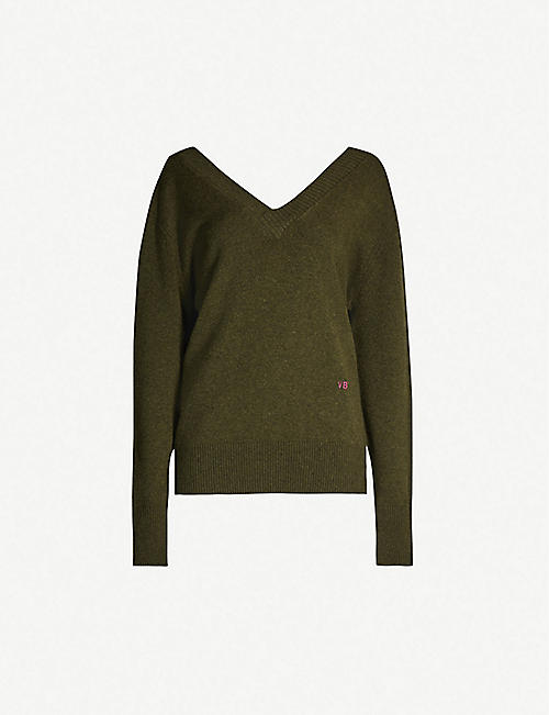 VICTORIA BECKHAM V-neck logo-embroidered stretch-cashmere jumper