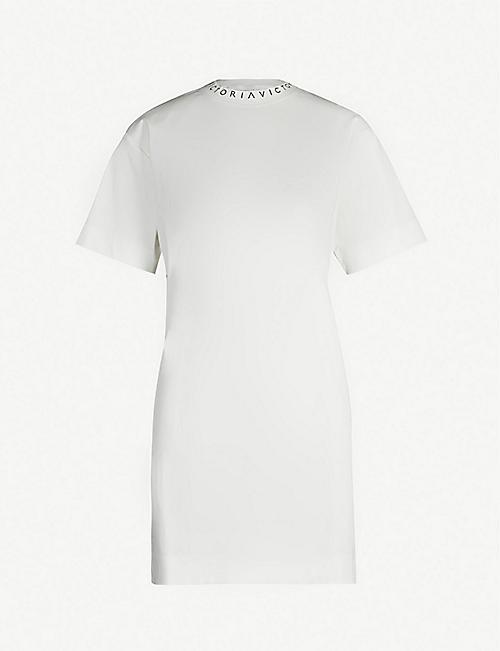 fcaf25760feb3 VICTORIA VICTORIA BECKHAM Logoed-neck cotton-jersey T-shirt dress