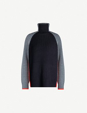 VICTORIA VICTORIA BECKHAM Colour-block turtleneck wool jumper