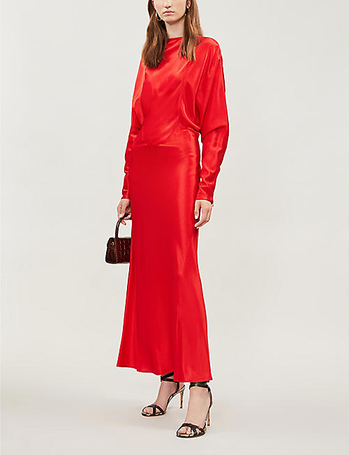 VICTORIA BECKHAM Draped-sleeve ribbed satin maxi dress