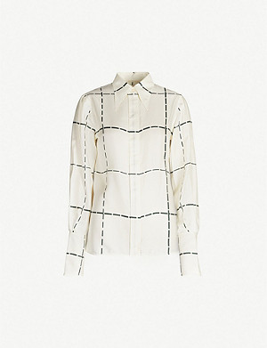 VICTORIA BECKHAM Pointed-collar checked silk-twill shirt