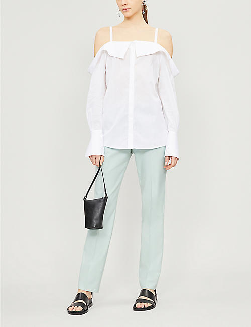 VICTORIA VICTORIA BECKHAM Off-the-shoulder flared-cuff cotton shirt