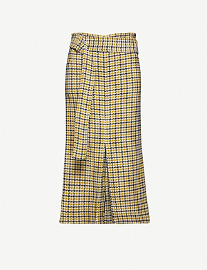 VICTORIA BECKHAM Checked wool-blend skirt