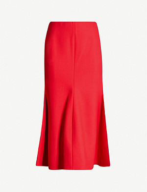 VICTORIA BECKHAM Flared high-waisted twill skirt