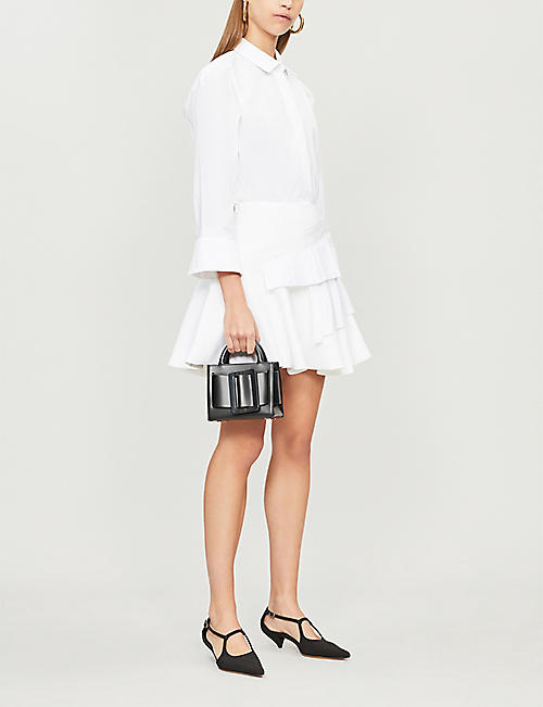 VICTORIA VICTORIA BECKHAM Contrast pleated-tier crepe mini skirt