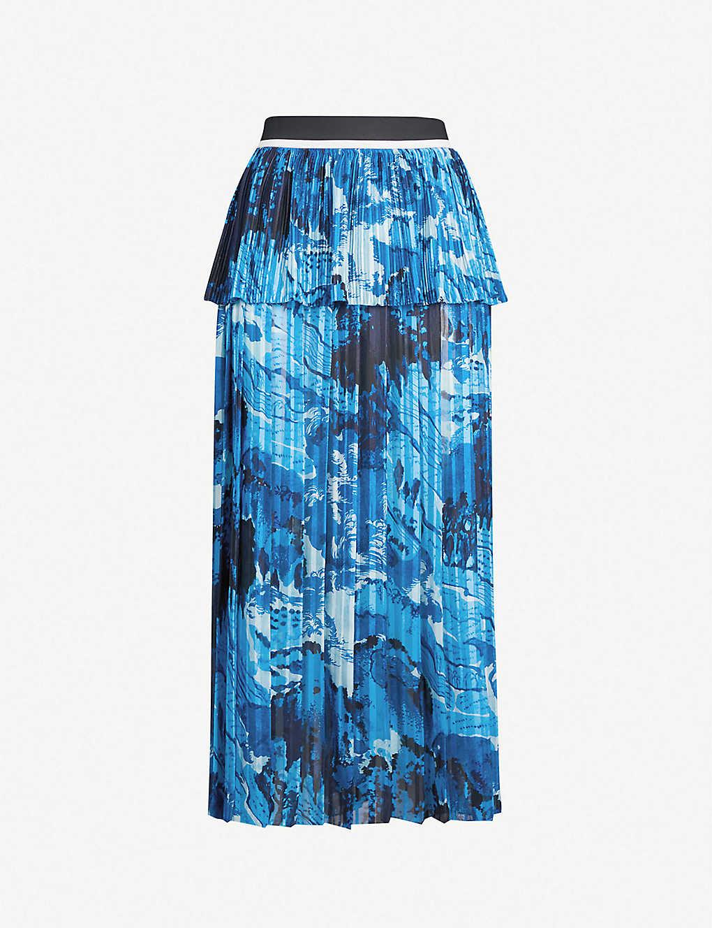 89d39343fe VICTORIA VICTORIA BECKHAM - High-waist pleated printed crepe midi skirt |  Selfridges.com