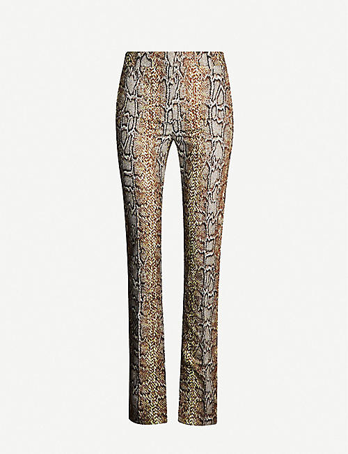 VICTORIA BECKHAM Python-print straight stretch-cotton trousers