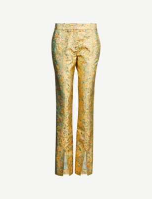 VICTORIA BECKHAM Metallic side-split high-rise straight crepe trousers