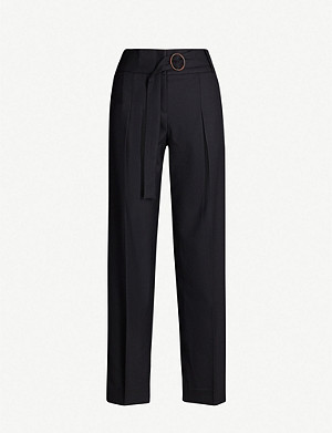 VICTORIA VICTORIA BECKHAM Side-striped tapered high-rise wool-blend trousers