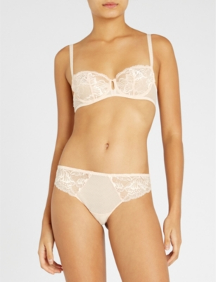 beabd9c776459 Simone Perele Promesse Lace And Mesh Half-Cup Bra In Ivory ...