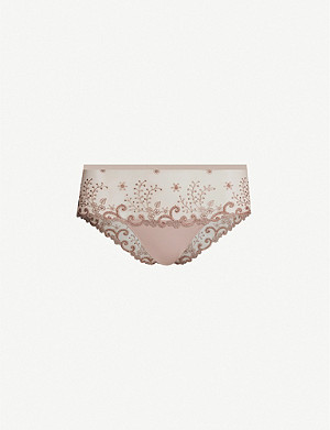 SIMONE PERELE Delice embroidered mesh shorty briefs