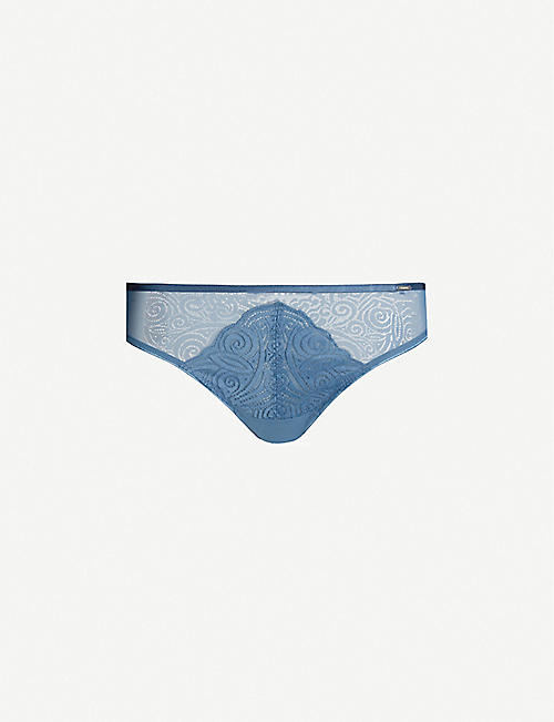 CHANTELLE Pyramide stretch-lace and tulle tanga briefs