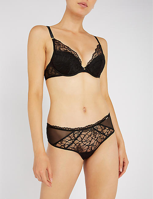 CHANTELLE Segur mesh and stretch-lace briefs