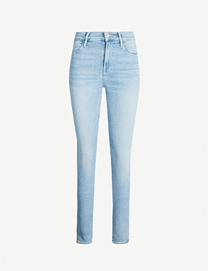 FRAME Le High Skinny cropped high-rise faded jeans