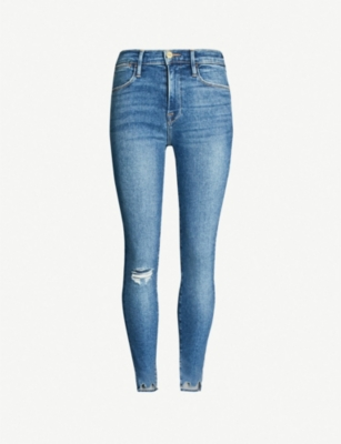FRAME Le High Skinny ripped skinny high-rise jeans