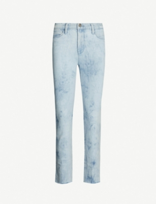 FRAME Le High Straight frayed-hem ripped jeans