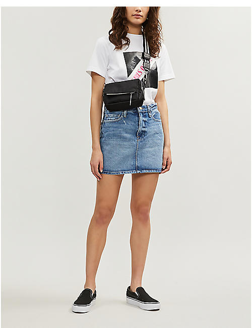 FRAME Le Mini high-waist faded denim skirt
