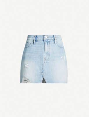 FRAME Le Mini high-waist ripped denim mini skirt