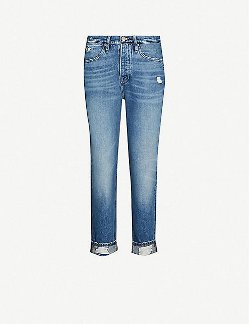 0a06196d72a FRAME Le Pegged high-rise faded straight-leg jeans