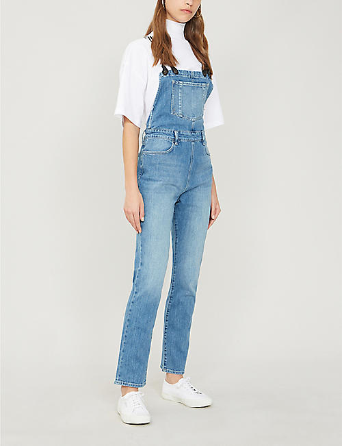 FRAME Le Suspender straight-leg stretch-denim jumpsuit
